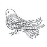 Hand getrokken duif in zentanglestijl op een witte achtergrond Symbo Royalty-vrije Stock Foto's