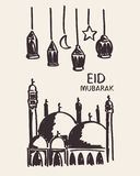 Hand getrokken eid Mubarak, moskee, ster, maan en lantaarn Stock Fotografie