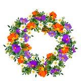 Hand getrokken elegant en romantisch grafisch bloemkader met llightpastelkleuren met oranje en blauwe sleutelbloem Stock Afbeeldingen