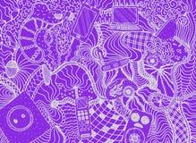 Hand getrokken elektroapparaten en gadgets met patroon Achtergrond vectorillustratie vector illustratie