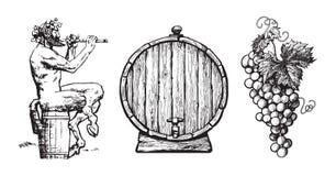 Hand getrokken elementen voor wijnontwerp Sater, vat, bos van druiven Vector stock illustratie