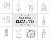 Hand getrokken embleemelementen en pictogrammen Stock Afbeeldingen