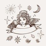 Hand getrokken engel, godsdienstig symbool van Christendom realistische vectorschets stock illustratie