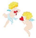 Hand getrokken engelen met hart Valentijnskaarten of huwelijkskaart vector illustratie