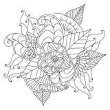 Hand getrokken etnisch sier gevormd bloemenkader Royalty-vrije Stock Afbeeldingen