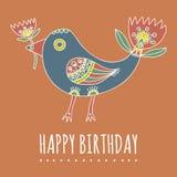 Hand getrokken fantastische vogel met tulp-als staart en een tulp in haar bek in desaturated kleuren Royalty-vrije Stock Afbeelding