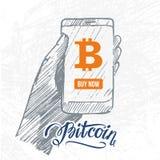 Hand getrokken gadget met bitcoinsymbool Stock Fotografie