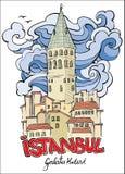 Hand getrokken galatatoren Istanboel vector illustratie