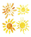 Hand getrokken geïsoleerde reeks verschillende zonnen Vector royalty-vrije illustratie