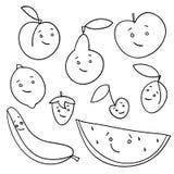Hand getrokken geïsoleerde vruchten Stock Afbeeldingen