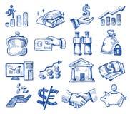 Hand getrokken geld en zaken Stock Fotografie