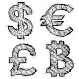 Hand getrokken geldsymbolen met het uitbroeden Stock Foto