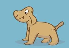 Hand Getrokken Gelukkig Puppy Zijaanzicht Royalty-vrije Stock Afbeeldingen