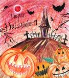 Hand getrokken gelukkige Halloween-achtergrond met enge pompoenen stock illustratie