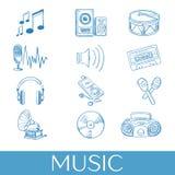 Hand getrokken geplaatste muziekpictogrammen Stock Afbeeldingen