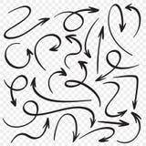 Hand getrokken geplaatste pijlen De wijzers van de beeldverhaalpijl De schets vectorreeks van de richtingswijzer stock illustratie