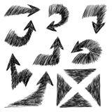 Hand getrokken geplaatste pijlenpictogrammen Stock Foto's