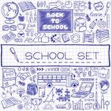 Hand getrokken geplaatste schoolpictogrammen Stock Foto