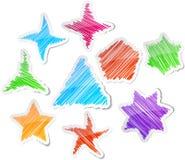 Hand getrokken geplaatste sterren. stock illustratie
