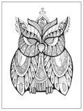 Hand getrokken gestileerde Uil, vogeltotem voor volwassen Kleurende Pagina stock illustratie
