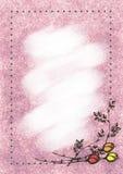 Hand getrokken geweven bloemenachtergrond Uitstekende kaart met rozen en bladeren Malplaatje voor brief of groetkaart Stock Afbeelding