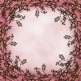 Hand getrokken geweven bloemenachtergrond Uitstekende kaart met rozen en bladeren Malplaatje voor brief of groetkaart Stock Fotografie