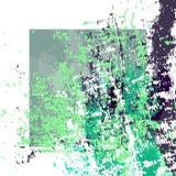 Hand getrokken geweven groene en marineblauwe kwaststreken wit kader vector illustratie