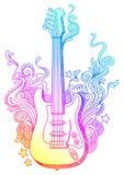 Hand getrokken gitaar Stock Foto
