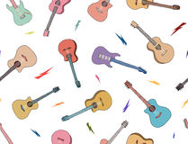 Hand getrokken gitarenpatroon Gekleurde overzichtengitaar Stock Fotografie