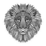 Hand getrokken grafisch overladen hoofd van leeuw Stock Foto's