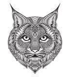 Hand getrokken grafische overladen bobcat royalty-vrije illustratie