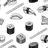 Hand getrokken grafische sushi en broodjes royalty-vrije illustratie