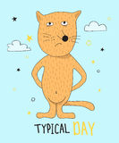 Hand getrokken grappige rode kat met getrokken hand het van letters voorzien typische dag Kan voor t-shirtontwerp worden gebruikt Stock Fotografie