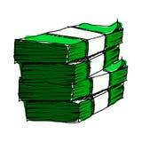 Hand getrokken groen geld vector illustratie