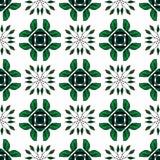 Hand getrokken groen naadloos patroon met bladornamenten Stock Foto