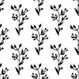 Hand getrokken groen naadloos patroon met bladornamenten Royalty-vrije Stock Foto