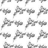 Hand getrokken groen naadloos patroon met bladornamenten Stock Fotografie