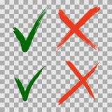 Hand getrokken Groen vinkje en rood kruispictogrammen stock illustratie