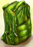 Hand getrokken groene rugzak Royalty-vrije Stock Foto