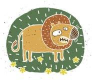 Hand getrokken grunge illustratie van leuke leeuw op bloemenachtergrond Royalty-vrije Stock Afbeelding