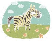 Hand getrokken grunge illustratie van leuke zebra op achtergrond met Stock Foto's