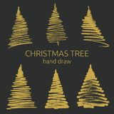 Hand getrokken grunge Kerstbomen Inkt het schilderen Stock Foto