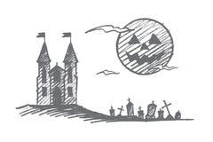 Hand getrokken Halloween-kasteel, begraafplaats, volle maan Stock Afbeelding