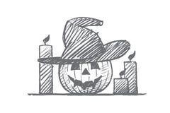 Hand getrokken Halloween-pompoengezicht en kaarsen Royalty-vrije Stock Afbeelding