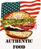 Hand getrokken hamburger vers en smakelijk op de vlag van de V.S. terug authentiek Stock Fotografie