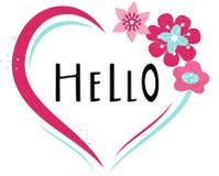 Hand getrokken HELLO-typografieaffiche Bloemen ontwerp? achtergrond, achtergrond, illustratie royalty-vrije stock foto
