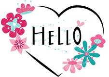Hand getrokken HELLO-typografieaffiche Bloemen ontwerp? achtergrond, achtergrond, illustratie royalty-vrije stock afbeeldingen