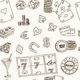 Hand getrokken het Casinopictogrammen van het krabbel naadloze patroon Vector illustratie Beeldverhaal het Gokken symbolen Schets Stock Afbeeldingen