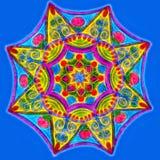 Hand getrokken het gloeien mandala op een blauwe achtergrond stock illustratie