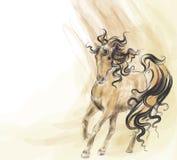 Hand getrokken het lopen paard Stock Foto's